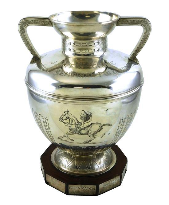 STERLING: Buccellati Polo Trophy of monumental size, Italian, sterling silver, custom design with flared rim to attached double hand...