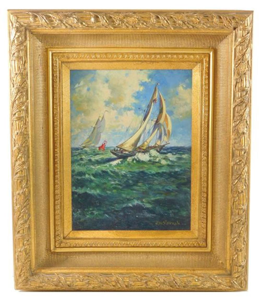 """20th C. oil on board of racing sloops, signed """"J. W. Farrah"""" lower right, depicts a sunny day with two sloops racing around a promin..."""