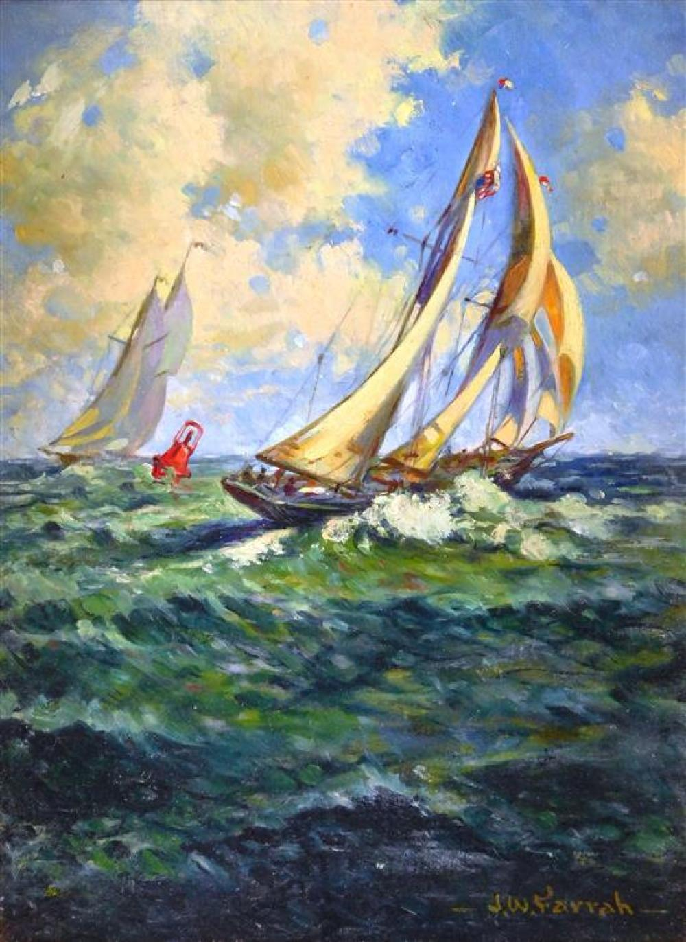 20th C. oil on board of racing sloops, signed