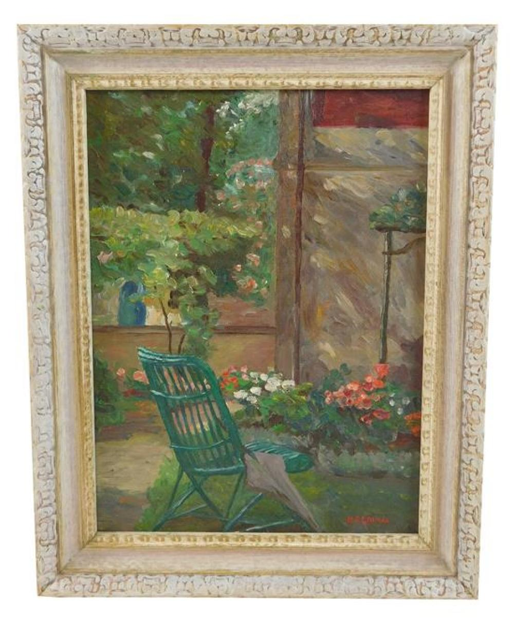 Mildred Gehman (American, 1908-2006), oil on board, garden scene with green chair in foreground, signed lower right, not examined ou...