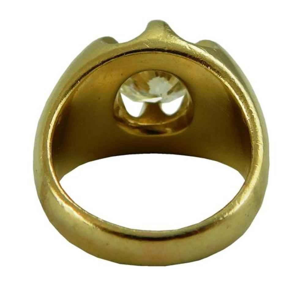 JEWELRY: Man's 14K Diamond Ring, mounting stamped and tested 14K yellow gold, half round tapered shank with six prong claw setting w..
