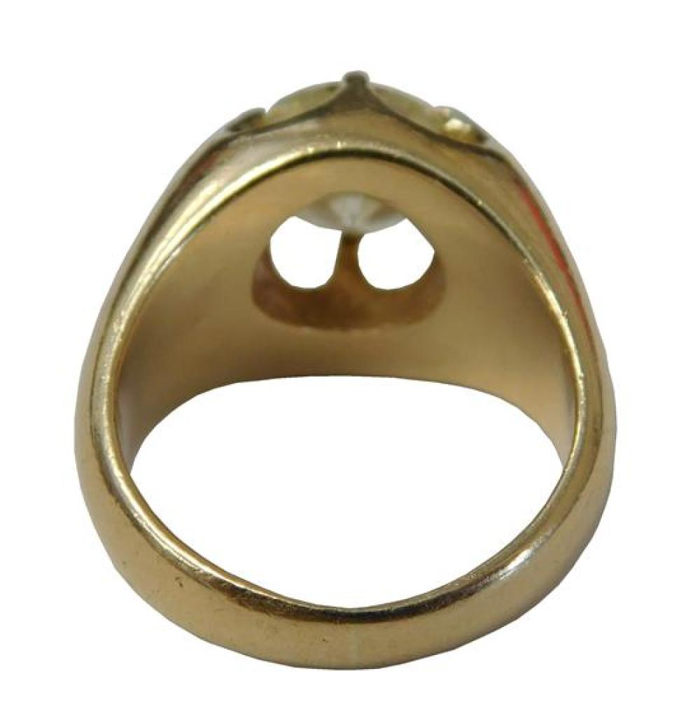 JEWELRY: Man's 14K Diamond Ring, mounting stamped and tested 14K yellow gold, half round tapered shank with six prong claw setting,...