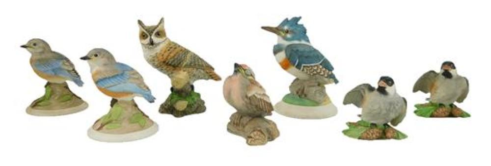 """Boehm porcelain bird figurines, seven pieces, all marked on base, pieces include: """"Fledgling Kingfish, 449""""; """"Great Horned Owl""""; pai..."""