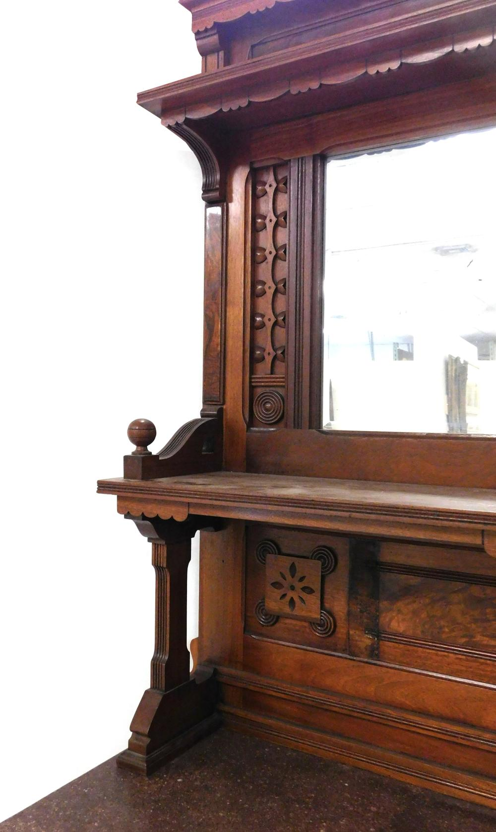 Breakfront, Eastlake, walnut, mirror and shelves over chocolate marble top, wear consistent with age and use, 91 ½