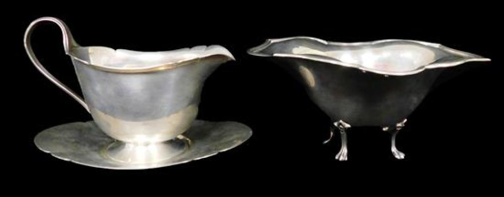 STERLING: Three sterling silver serving pieces by Towle Silversmiths and J. E. Caldwell & Co, pieces include footed dish and open cr...