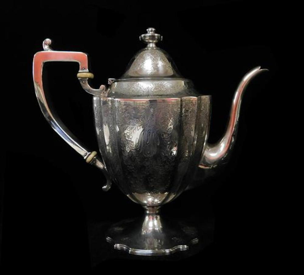 STERLING: Black, Starr & Frost tea service, seven pieces, all with etched foliate scroll and vine design, urn finials, fluted bodies...