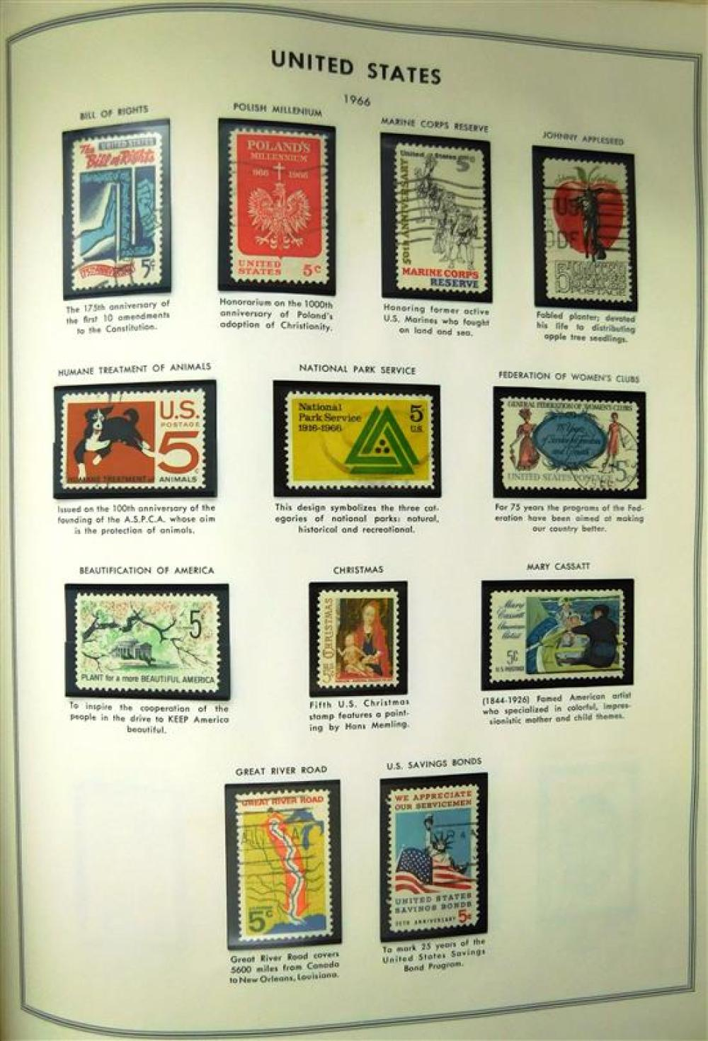 U.S. Liberty Stamp Album, most stamps are on black mounts; Highlighting Scott's #'s 10, 63, 65, 76, 78, 154, 191, 312. Majority of s.