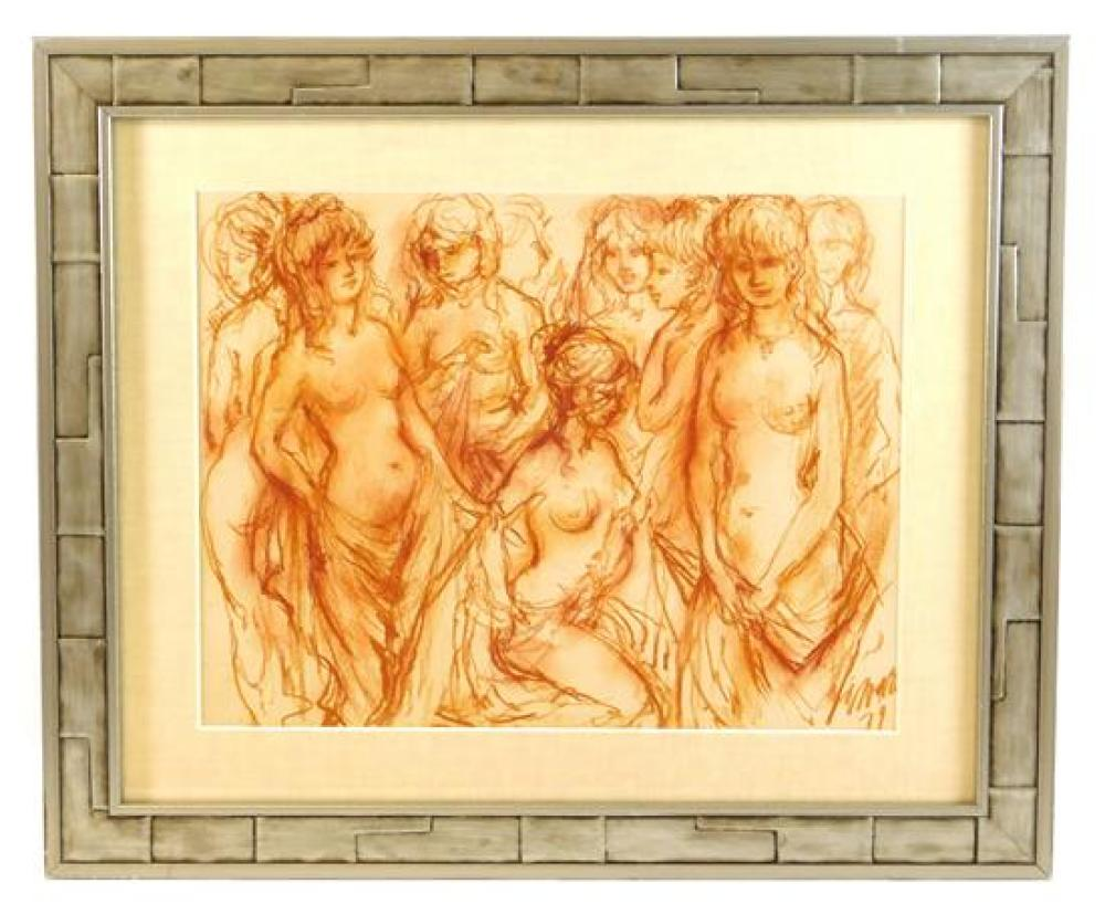 Josephine Sands (American, 1913 - 1986), red crayon drawing on paper, 1974, signed and dated lower right, depicts a group of partial...