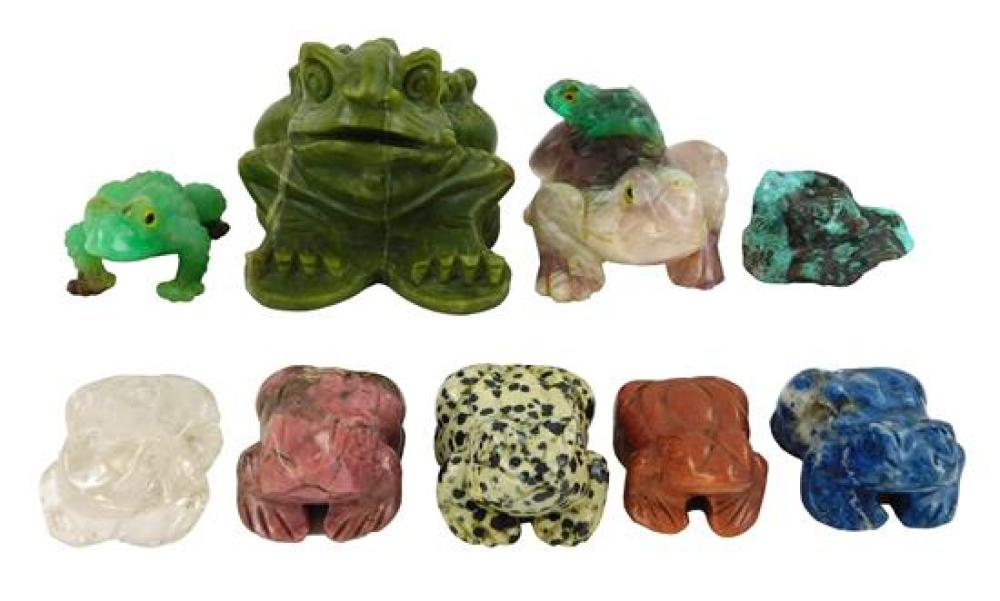 Carved hardstone frogs/toads, nine pieces, 20th C., varied stones, largest a forest green with raised scale back, wear consistent wi...