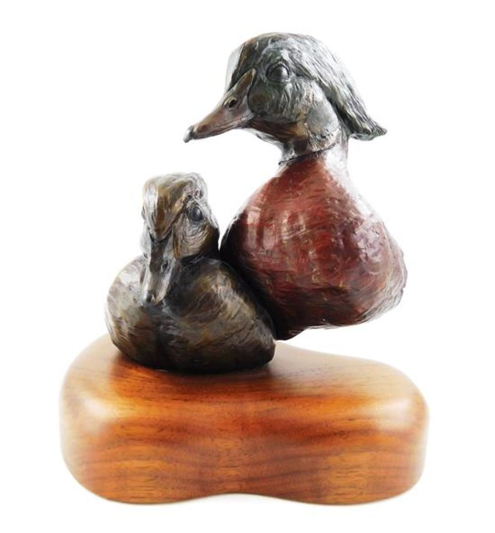 """William Turner (American, b. 1943), """"Wood Duck Study"""", 1989, bronze sculpture, ed. 25/50, depicts the busts of a male and female Woo..."""