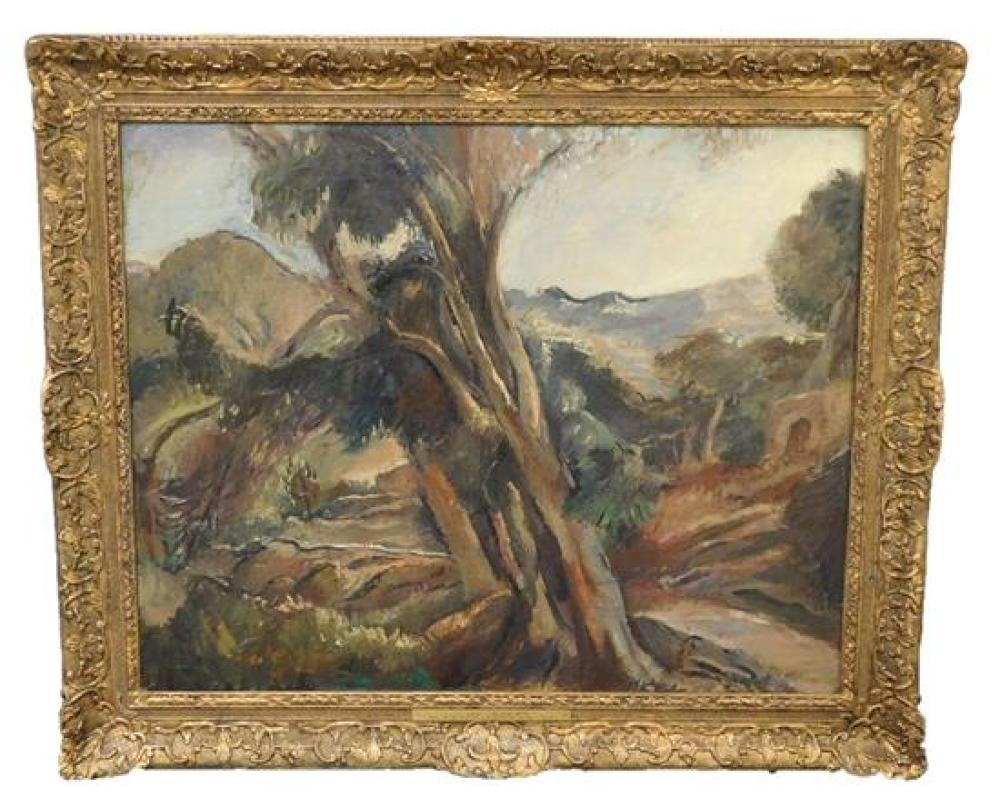 """Edouard (Edy) Legrand (France, 1892-1970), """"Landscape"""", oil on canvas, depicts large tree in foreground of a slightly abstracted lan..."""