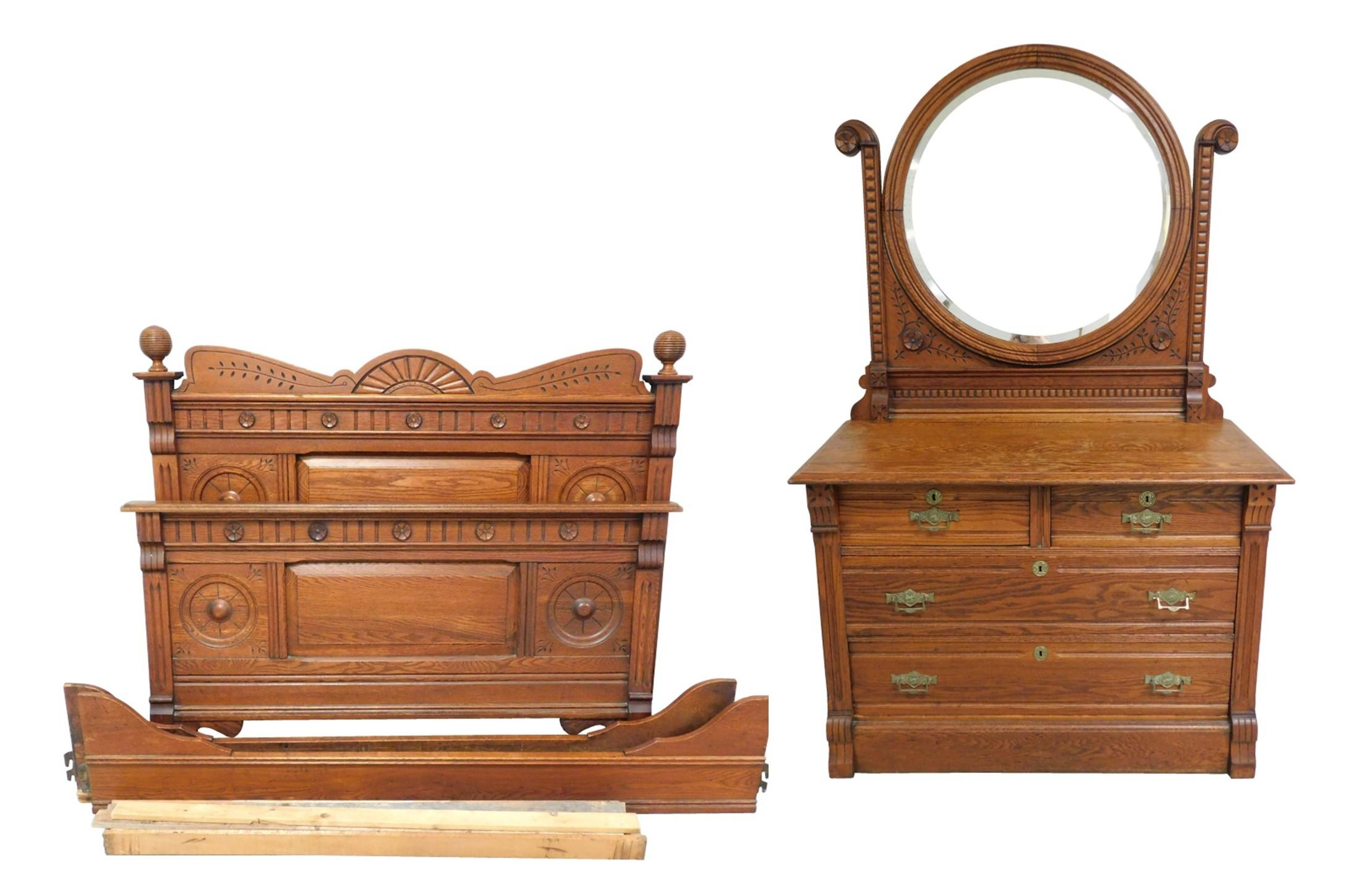 "Bed stead and bureau, Eastlake, oak: bureau with round beveled mirror, two drawers over two, 71"" h. x 43"" w. x 20"" d.; and full bed..."
