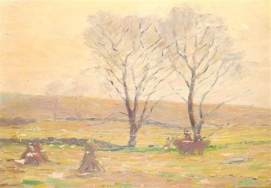 """Mina Fonda Ochtman (American, 1862 - 1924), """"Gathering Hay"""", oil on board, depicts an open field with two haystacks at left and an o..."""
