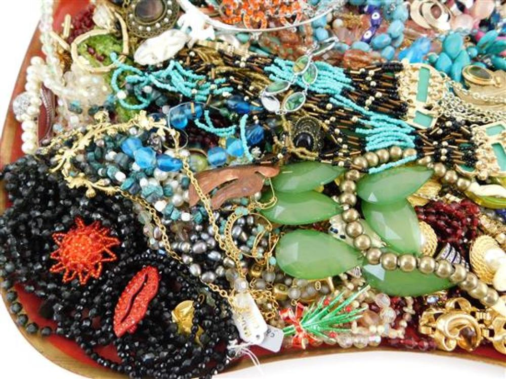 COSTUME JEWELRY: 70+ Pieces of bangles, cuffs, necklaces, rings, earrings, etc., makers include Trifari, Monet, etc., materials incl...