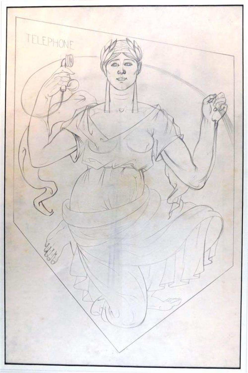 Eugene Savage (American, 1883-1978), three allegorical pencil drawings, likely preparatory drawings for mural or other project, esta...