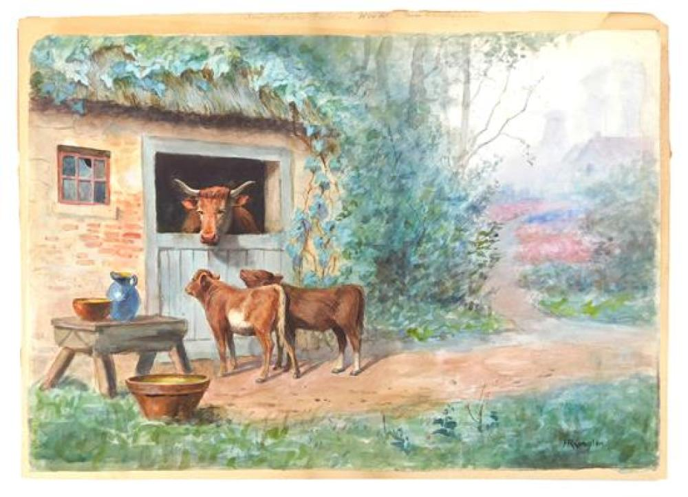 Thomas Raphael Congdon (American, 1862 - 1917), watercolor on paper laid down on board, depicts mother cow in barn with two calves o...