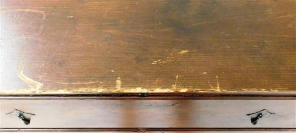 Tall blanket chest, American, c. 1800, lift top two with two false and two working drawers, bracket base, cotter hinges, replaced br...