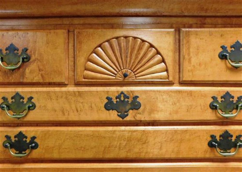 Highboy in two parts, figured maple, Queen Anne style, fan carving, cabriole legs, some condition issues appropriate with age and us...