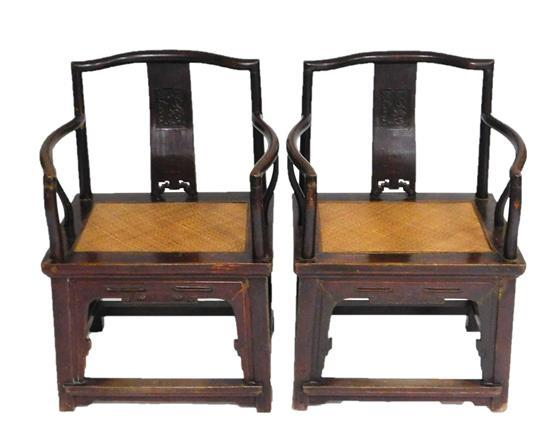 ASIAN: Pair of Chinese armchairs, 19th C., serpentine crest rail over solid horizontal splat with pierced and raised scroll decorati...