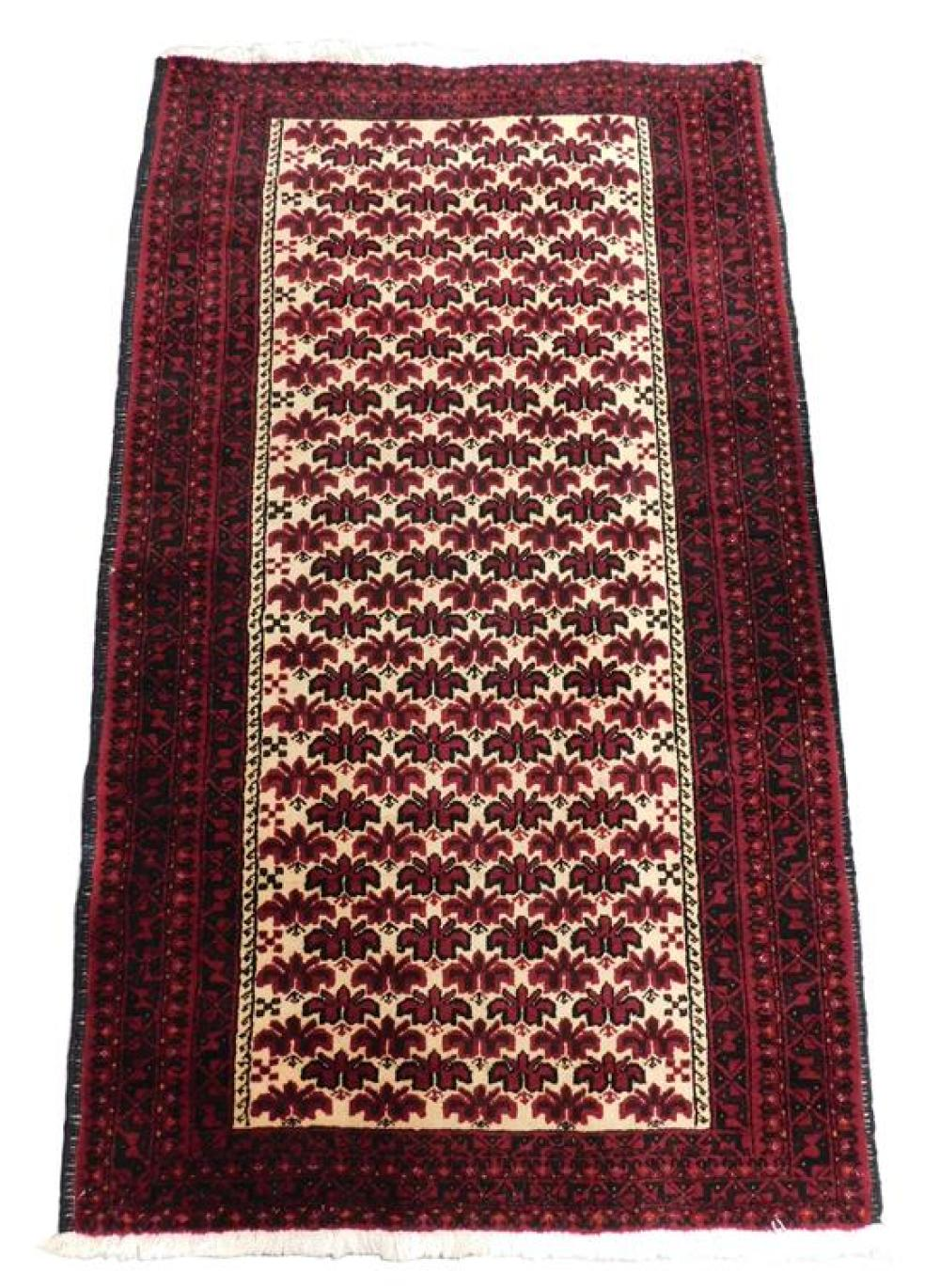 """RUG: Persian Belouch, 3'8"""" x 6'2"""", hand-knotted, 100% wool on cotton, red and black design on cream ground, alternating rows of repe."""