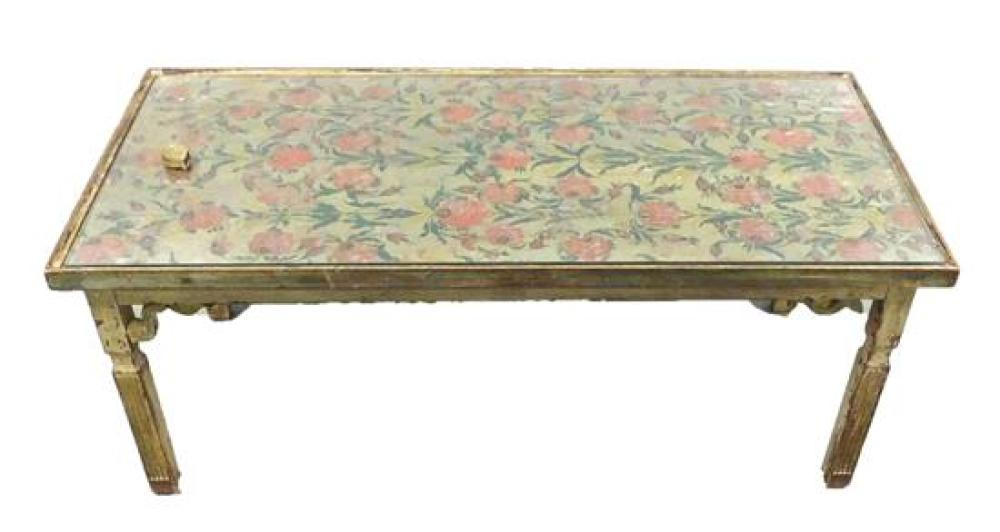 Oblong coffee table, hand-painted top with polychrome floral decoration on a light sage green ground, raised edge, protective glass...