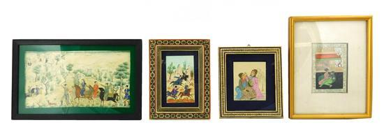 Four paintings on rigid support, Middle Eastern, 20th C
