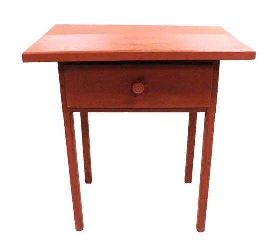 """Single drawer stand with knob pull, red paint finish, reproduction, some condition issues appropriate with age and use, 34""""h"""