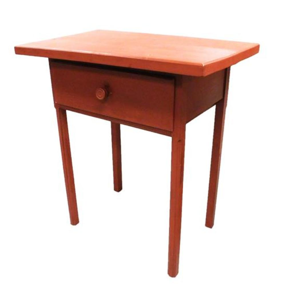 Single drawer stand with knob pull, red paint finish, reproduction, some condition issues appropriate with age and use, 34
