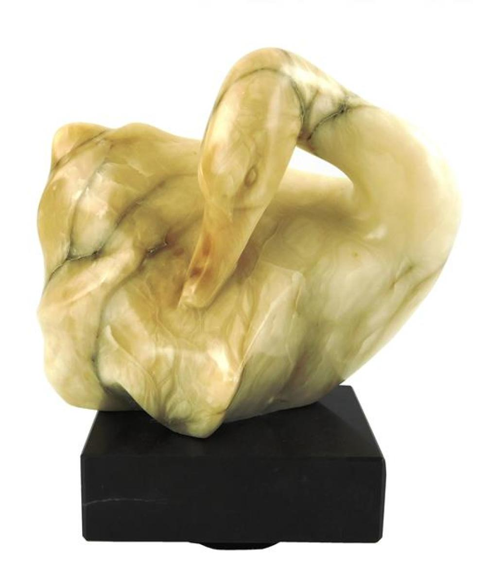"""Ralph Hurst (American, 1918-2003), carved hardstone swan sculpture, 1980, on attached rotating base, signed """"Ralph Hurst, 80"""", wear..."""