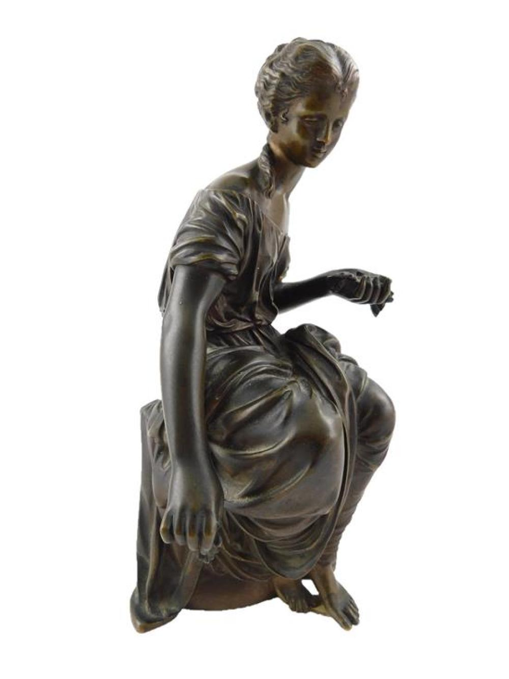 After Moreau, bronze sculpture of seated Classical female figure, incised signature near base, molded in two parts with the upper pa...