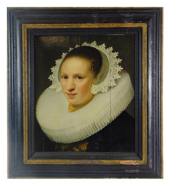 17th C. Dutch portrait with plaque attributing work to Michiel Jansz Van Miereveld (Dutch, 1567 - 1641), oil on panel, finely painte...
