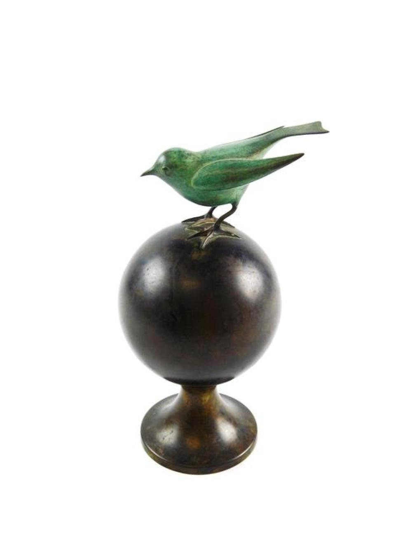 "Francois Xavier Lalanne (French, 1927-2008), ""Oiseau bleu"", bronze, c. 1979, Artcurial edition bronze bird on orb sculpture, edition..."