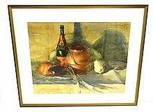 "Sergei Bongart (Ukranian-American, 1918-1985), ""Still Life with Copper Kettle"", watercolor on paper depicting wine bottle, copper ve..."
