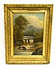 Image 1 for Hudson River School type oil on canvas, in elaborately molded and gilded J. C. White, Boston frame: landscape scene of waterfall cra...