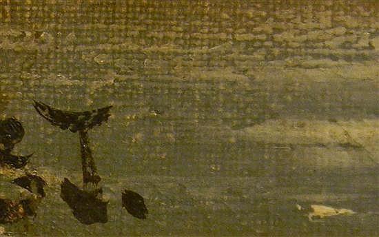 Hudson River School type oil on canvas, in elaborately molded and gilded J. C. White, Boston frame: landscape scene of waterfall cra...