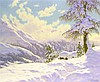 "Image 2 for Ivan Fedorovich Choultse (Russian, 1877- 1932), ""Jour d' hiver, Haut-Engadine"", oil on canvas, depicts a mountainous landscape in wi.."