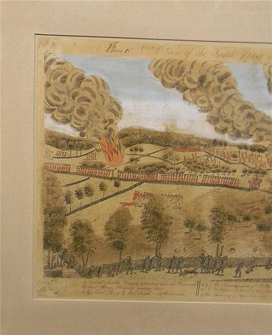 Amos Doolittle (Cheshire, CT, 1754-1832), two early colored engravings depicting events from the Battles of Lexington and Concord, b...