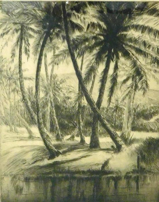 """John Melville Kelly (American, 1879-1962), """"Kauai Coconuts,"""" etching, signed in pencil in margin, depicts bending coconut trees on b..."""