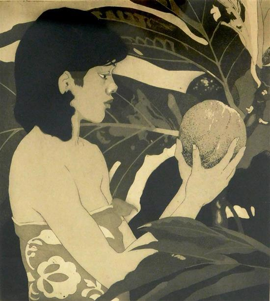"""John Melville Kelly (American, 1879-1962), """"Bread Fruit, Hawaii,"""" etching and aquatint, signed in pencil in margin, depicts young wo..."""