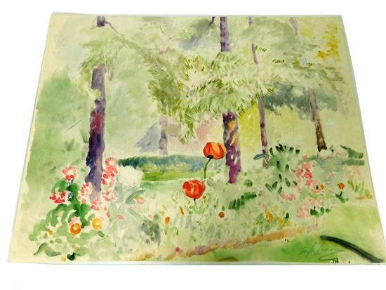 """Hayley Lever (Australian, 1876-1958), """"Tulip Patch,"""" watercolor on paper, signed in pencil LR, landscape with five trees and row of ..."""