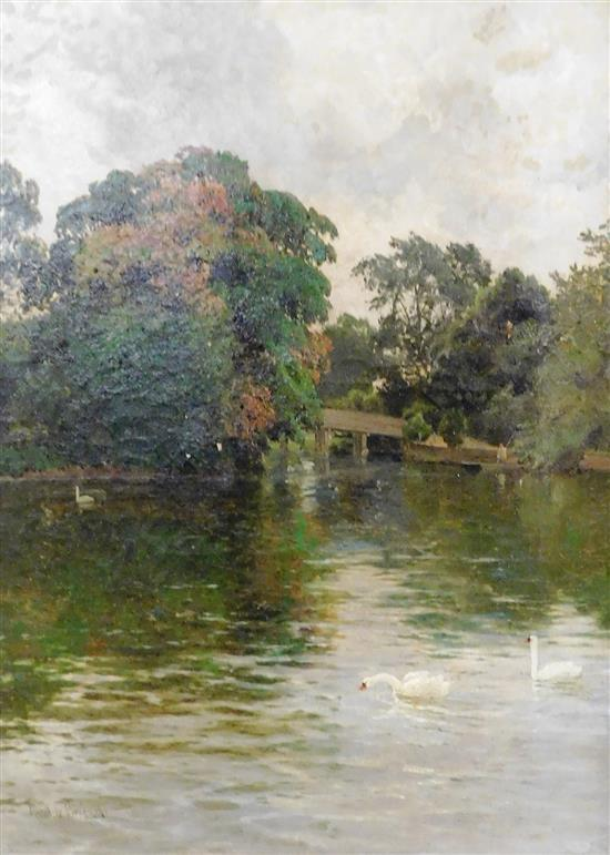 "Alfred de Breanski Sr. (English, 1852-1928), oil on canvas, signed LL, inscribed title verso ""The Old Chestnut Tree: Cookham - Hedso..."