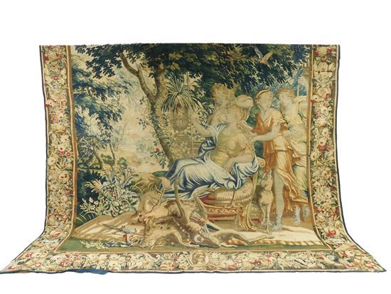 Circa 1800 Brussels tapestry, mythological subject featuring a hunting party, seated prince attended to by three standing figures in...