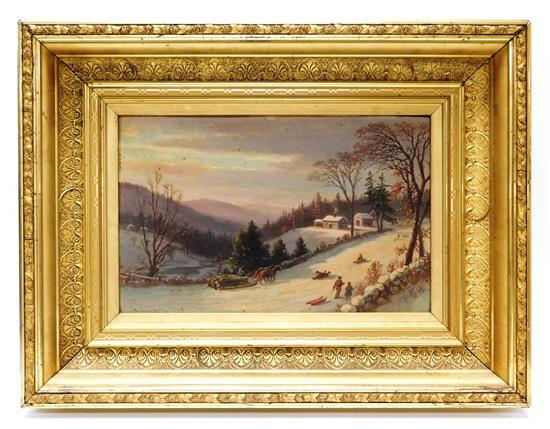 """Benjamin Champney (American, 1817-1907), """"Winter Sunset, Green Mountains"""", 1877, oil on board depicting New England winter landscape..."""