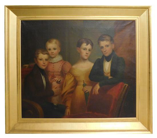 Early 19th C. American School oil on canvas, unsigned, portrait depicting four children, one child holding a horse drawn toy, a youn...