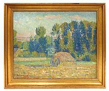 """George Albert Thompson (Connecticut, 1868-1938), Impressionist style oil on canvas board depicting haystack in summer meadow, signed """"G"""