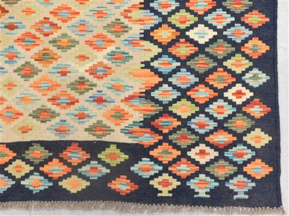 """RUG: Turkish Kilim, 6' 8"""" x 8' 2"""", hand-made, 100% wool, polychrome with classic geometric design, wear consistent with age and use,."""