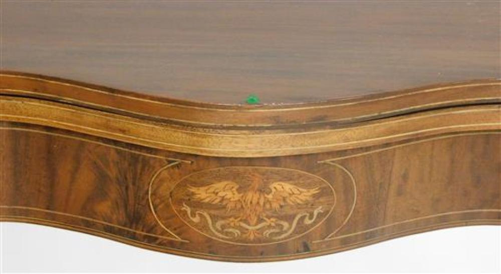 Card table, Federal style, mahogany and mahogany veneer, oxbow top with conforming frieze, eagle and urn inlay to skirt, bell flower...