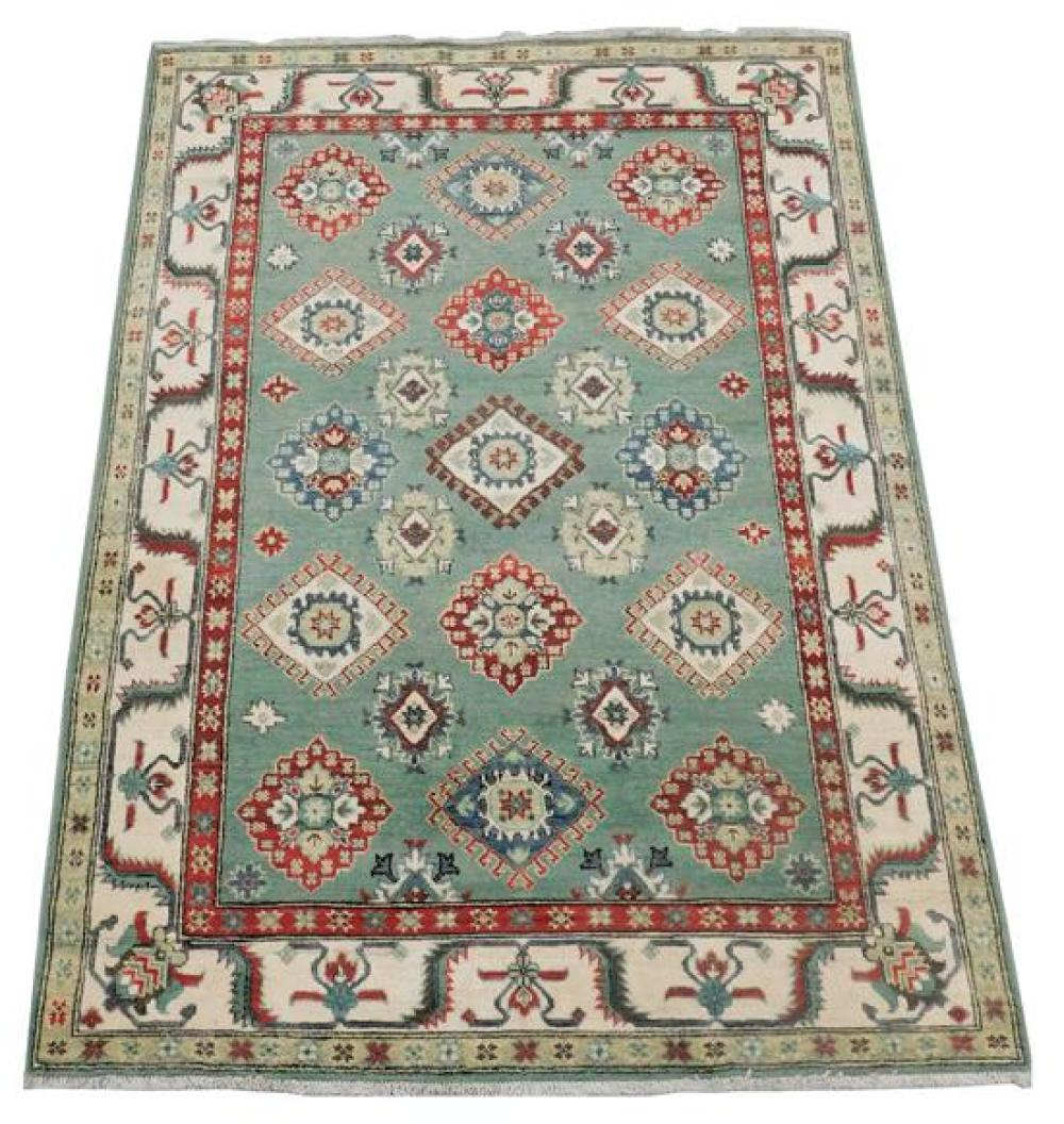 """RUG: Uzbek Kazak 4' 10"""" x 6' 10"""", hand-made, 100% wool, polychrome with classic geometric design, wear consistent with age and use,.."""