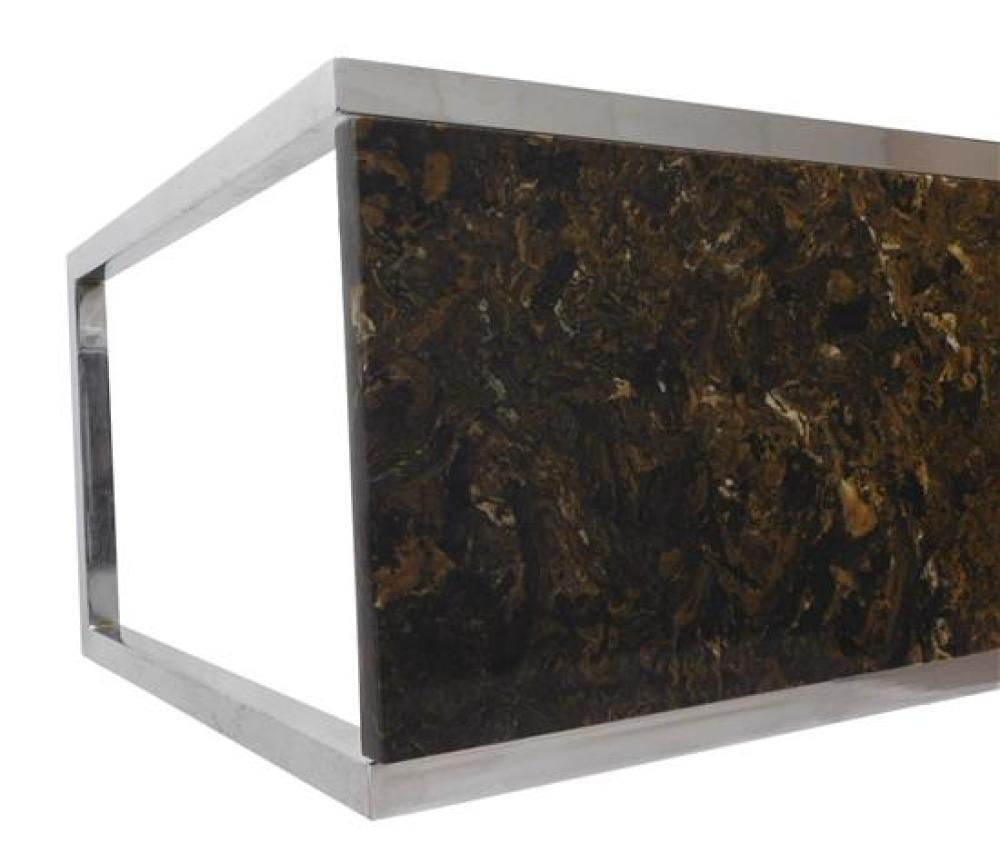 """Contemporary console table, polished stone oblong top on rectangular chrome base, wear consistent with age and use, 27"""" h. x 61"""" w...."""