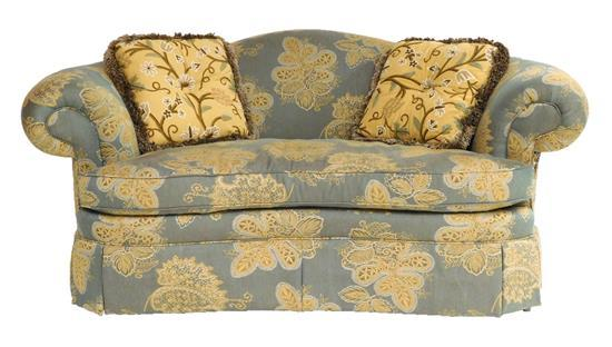 Love seat by Taylor King, Taylorsville, N.C., custom upholstery in gold and gray-green, kidney shaped back rest and seat, rolled arm...